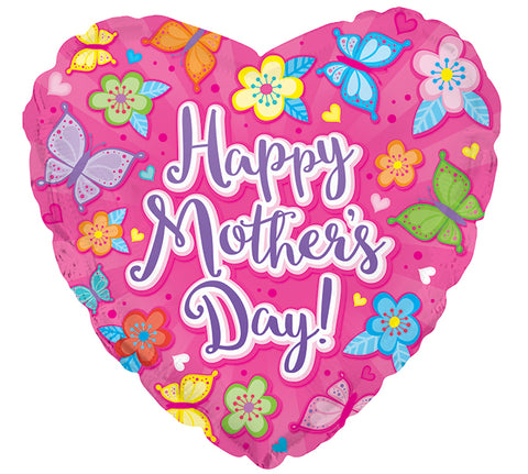 Mother's Day Balloon Foil Mylar - Pink Butterfly's