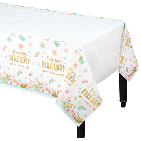 Boho Girl Paper Table Cover - Happy Birthday