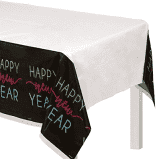 "New Year's Glow Plastic Table Covers, 54"" x 102"""