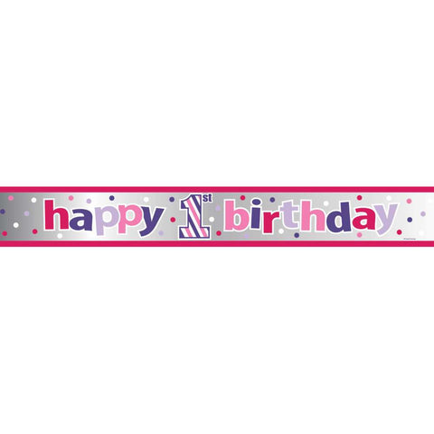 Sweet Stripes Girl 1st Birthday 6ft. Foil Banner