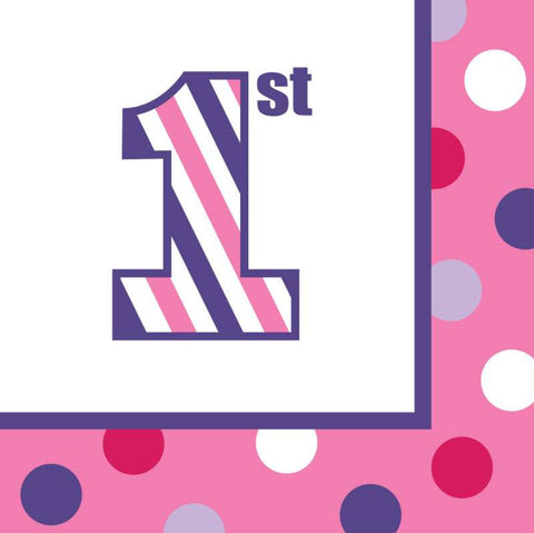 Sweet Stripes Girl 1st Birthday Lunch Napkins