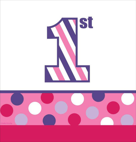 Sweet Stripes Girl 1st Birthday Plastic Tablecover