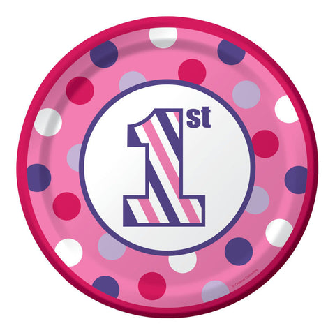 Sweet Striples Girl 1st Birthday Cake Plates