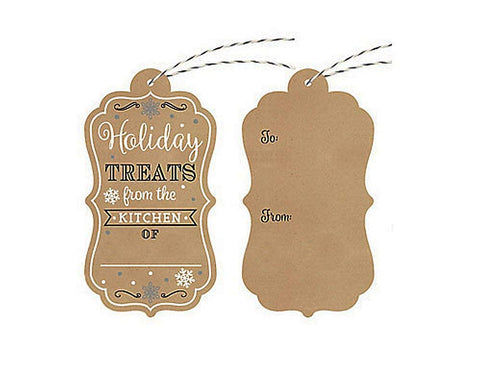 12 Count Christmas Container Kraft Tags