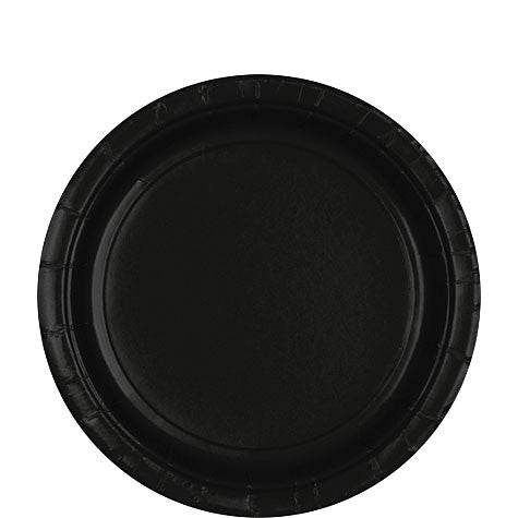 "Black Paper Lunch Plates 9"" 20Ct"
