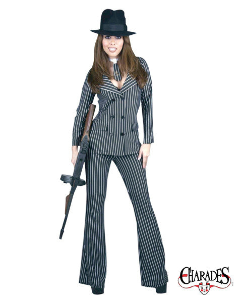 Gangster Moll - Womenu0027s Mobster Suit Costume  sc 1 st  Card u0026 Party Giant & Gangster Moll - Womenu0027s Sexy Mobster Suit Adult Costume (Black/White ...