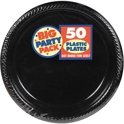 "Black 10 1/4"" Plastic Plates 50Ct"