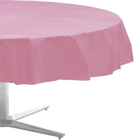 "New Pink Plastic Round Table Cover (84"")"