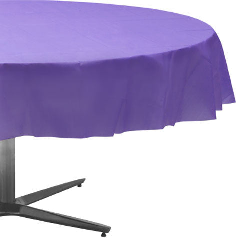 Purple 84In Plastic Round Table Cover