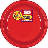 "Red 10 1/4"" Plastic Plates 50Ct"