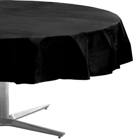 Black 84In Plastic Round Table Cover