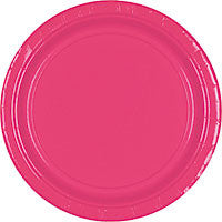 "Bright Pink 10  1/2 "" Paper Dinner Plates 20Ct"
