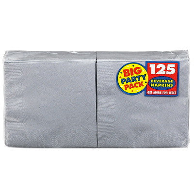 Silver Big Party Pack - Beverage Napkins 125ct