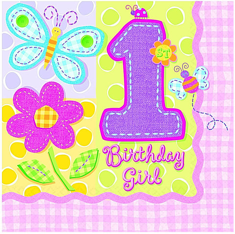 Hugs & Stitches 1st Birthday Girl Lunch Napkins 16Ct