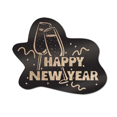 "Glittered Happy New Year Sign 15"" X 18"""