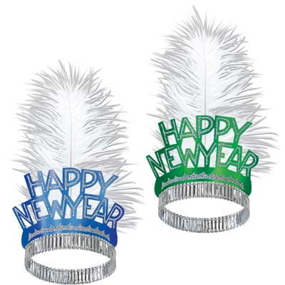 Happy New Year Swing Tiaras Glittered Foil w/White Ostrich Plume
