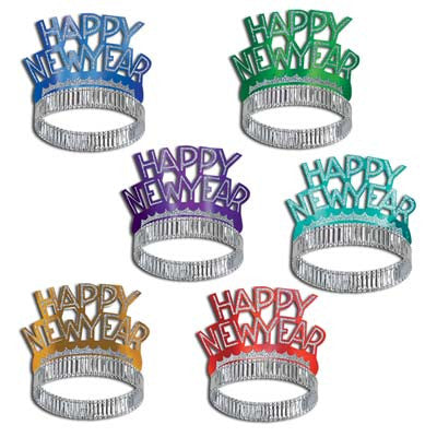 Happy New Year NY Tiaras Glittered Foil