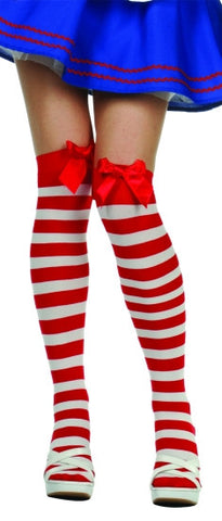 Thigh Highs Red/White Strp
