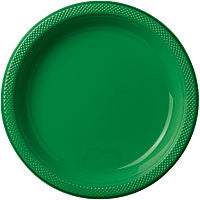 "Festive Green 10.25"" Plastic Dinner Plates 20Ct"