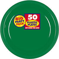 Festive Green Plastic Dinner Plates 10 1/2in 50ct