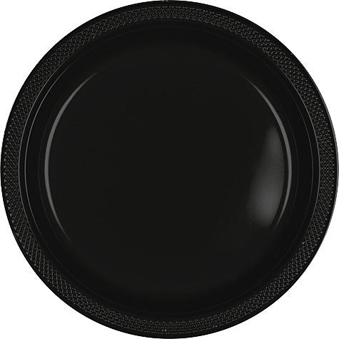 "Black 9"" Plastic Lunch  Plates 20Ct"