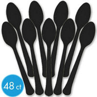 Black Heavy Duty Spoons 48Ct