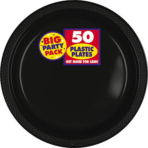 "Black 7"" Plastic Plates 50Ct"