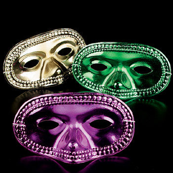 24 Pc. Assorted Masks (Gold, Green, Purple)