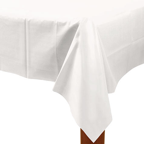 White 54In X 108In Plastic Table Cover