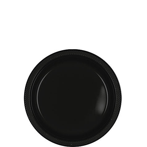 "Black 7"" Plastic Lunch Plates 20ct"