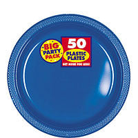 Bright Royal Blue Plastic Dessert Plates 7in 50ct