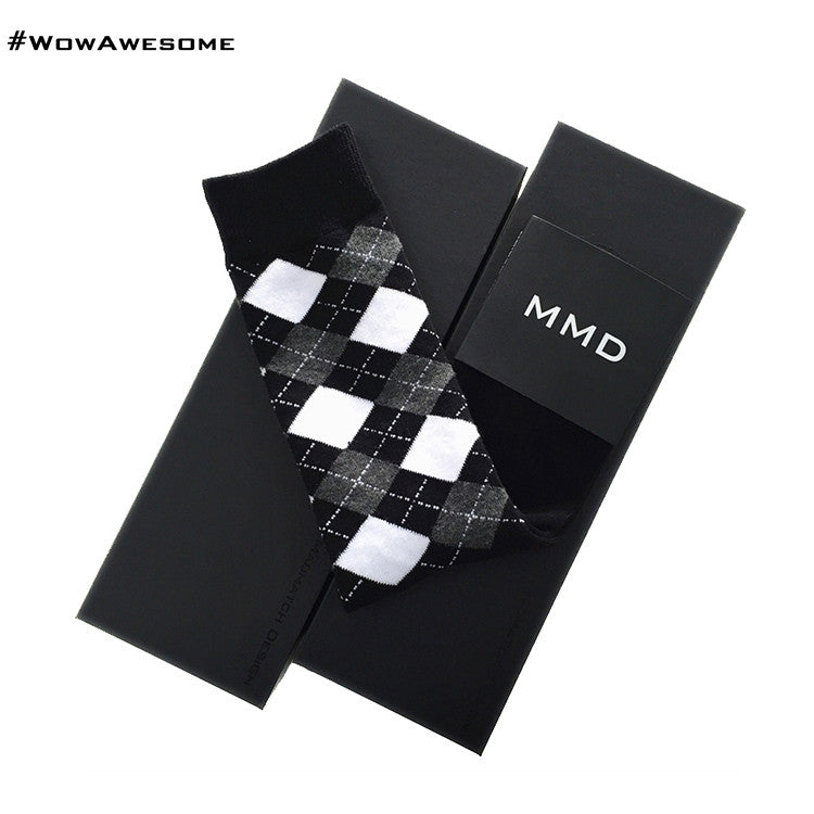 MadMatch Design MMD Square Design Black and White Womens Mens Cotton Casual Socks for Men Women