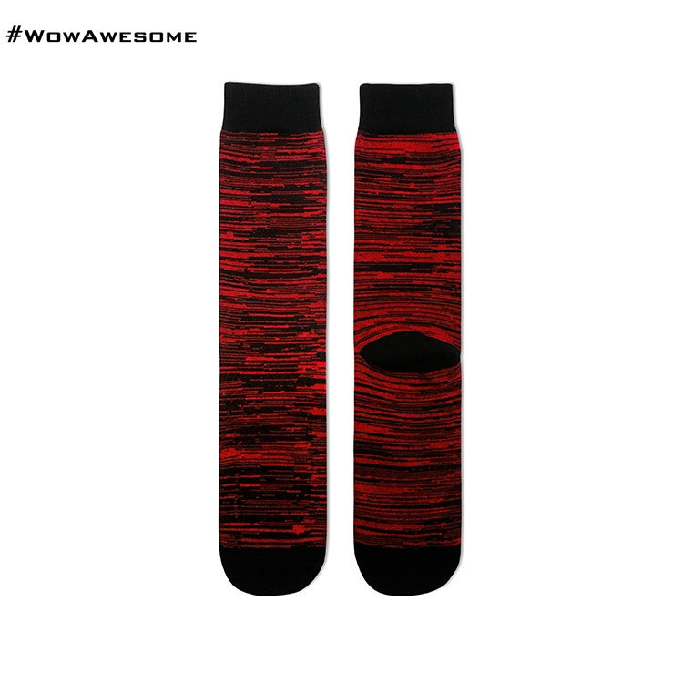 MMD Black with Red Stripes Womens Mens Cotton Boot Casual Socks for Men Women M16D - 001