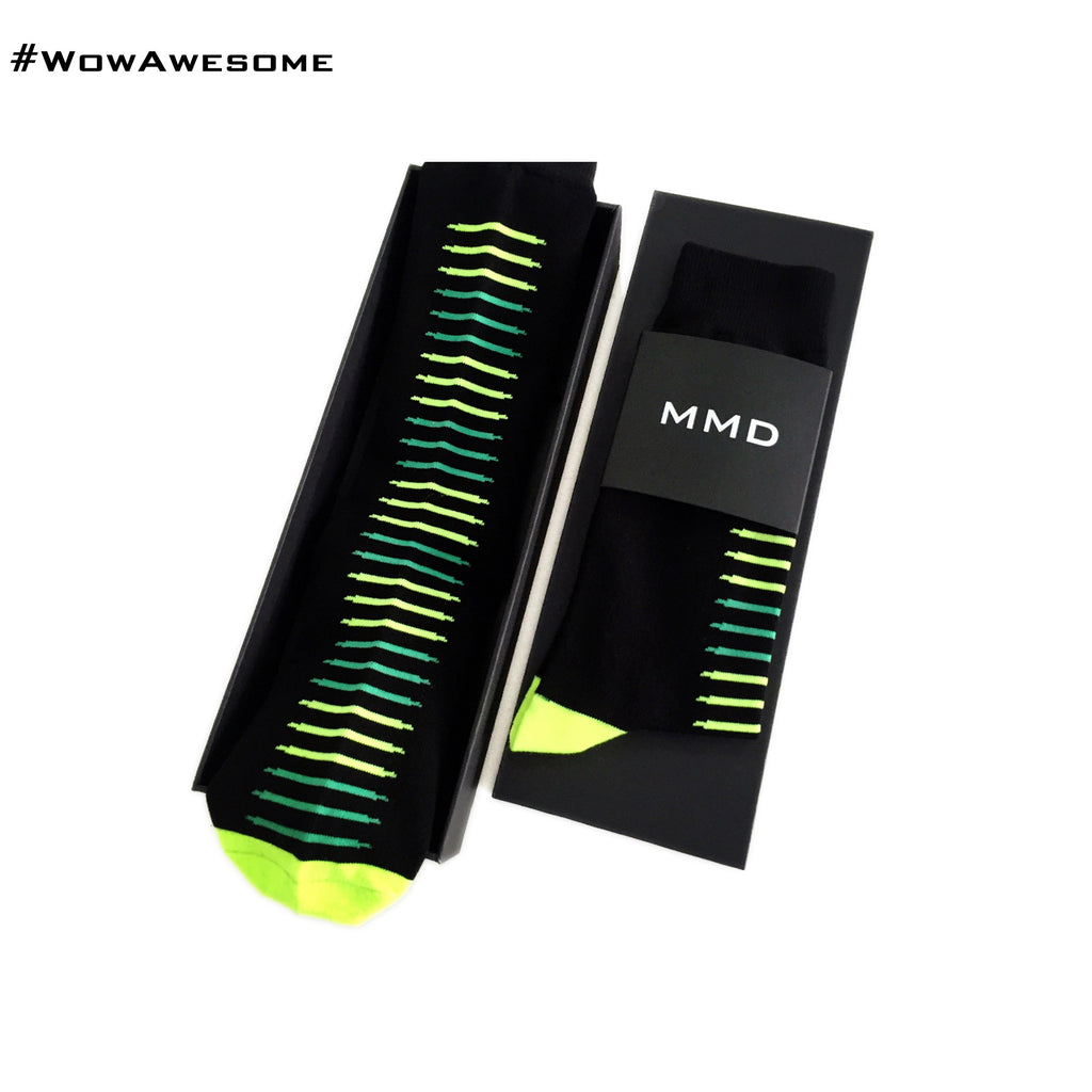 MadMatch Design MMD Black with Pink Colors Fluorescent Stripes Womens Mens Cotton Casual Boot Socks for Men Women