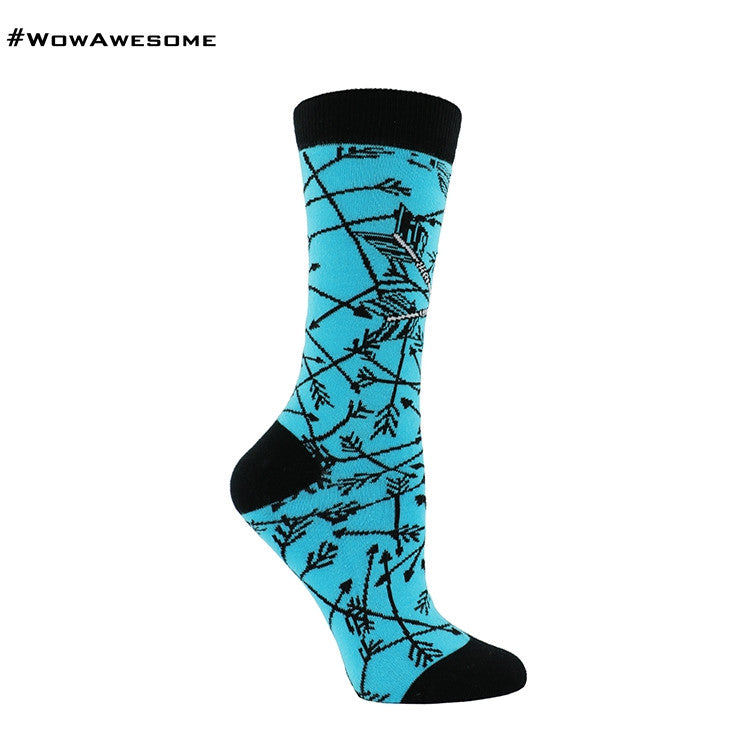 MMD Blue with Black Arrows Womens Mens Cotton Casual Boot Socks for Men Women MMD16F - 002