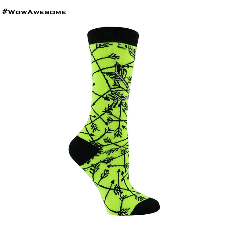 MMD Yellow with Black Arrows Womens Mens Cotton Casual Boot Socks for Men Women MMD16F - 003