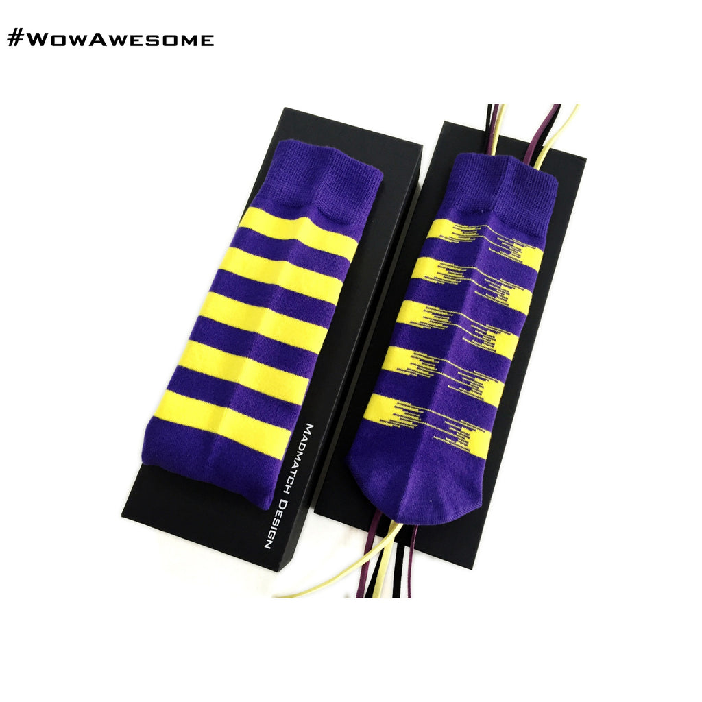 MadMatch Design MMD Blue with Yellow Colors Fluorescent Stripes Womens Mens Cotton Boot Casual Socks for Men Women