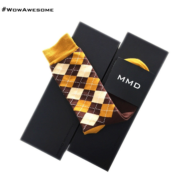 MadMatch Design MMD Square Brown and Beige Womens Mens Cotton Casual Socks for Men Women
