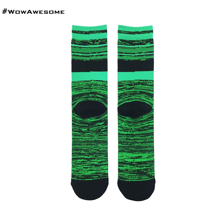 MMD White with Pink Stripes Womens Mens Cotton Boot Casual Socks for Men Women MMD16D - 007