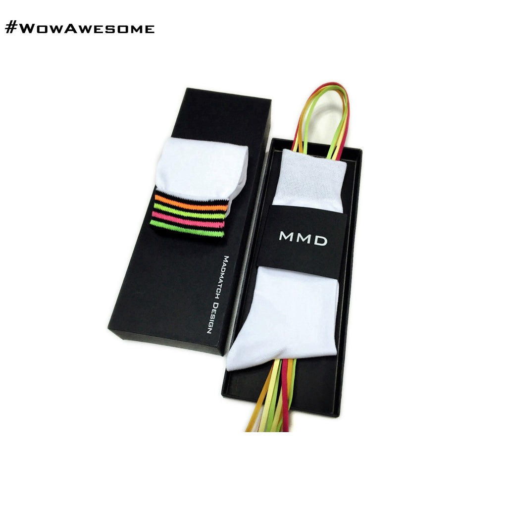 MadMatch Design MMD Plain Solid White Womens Mens Cotton Casual Socks for Men Women with Fluorescent Stripes - WowAwesomeStuff  - 2