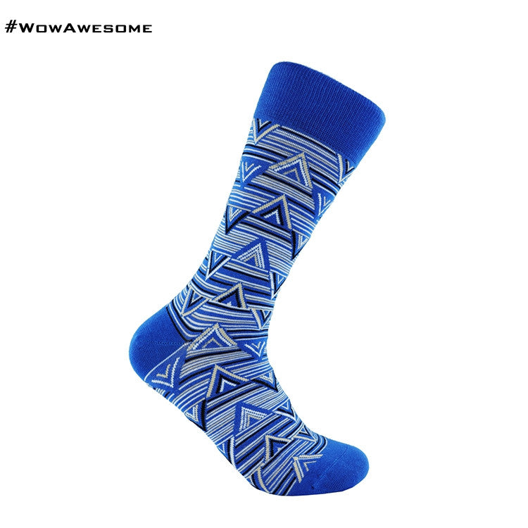 MMD White Triangle LOGO on Blue Womens Mens Cotton Casual Boot Socks for Men Women MMD16F - 011