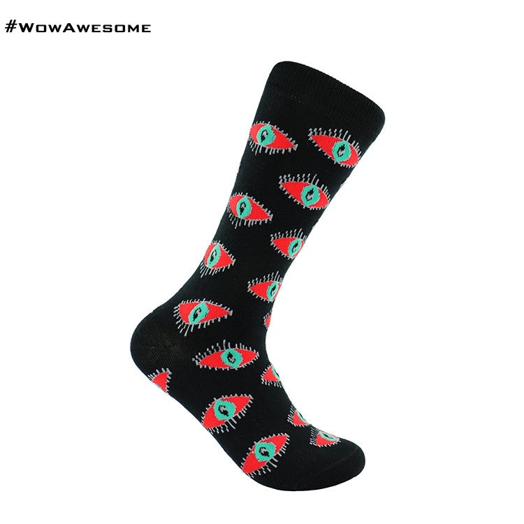 MMD Red Eyes on Yellow Womens Mens Cotton Casual Boot Socks for Men Women MMD16F - 014