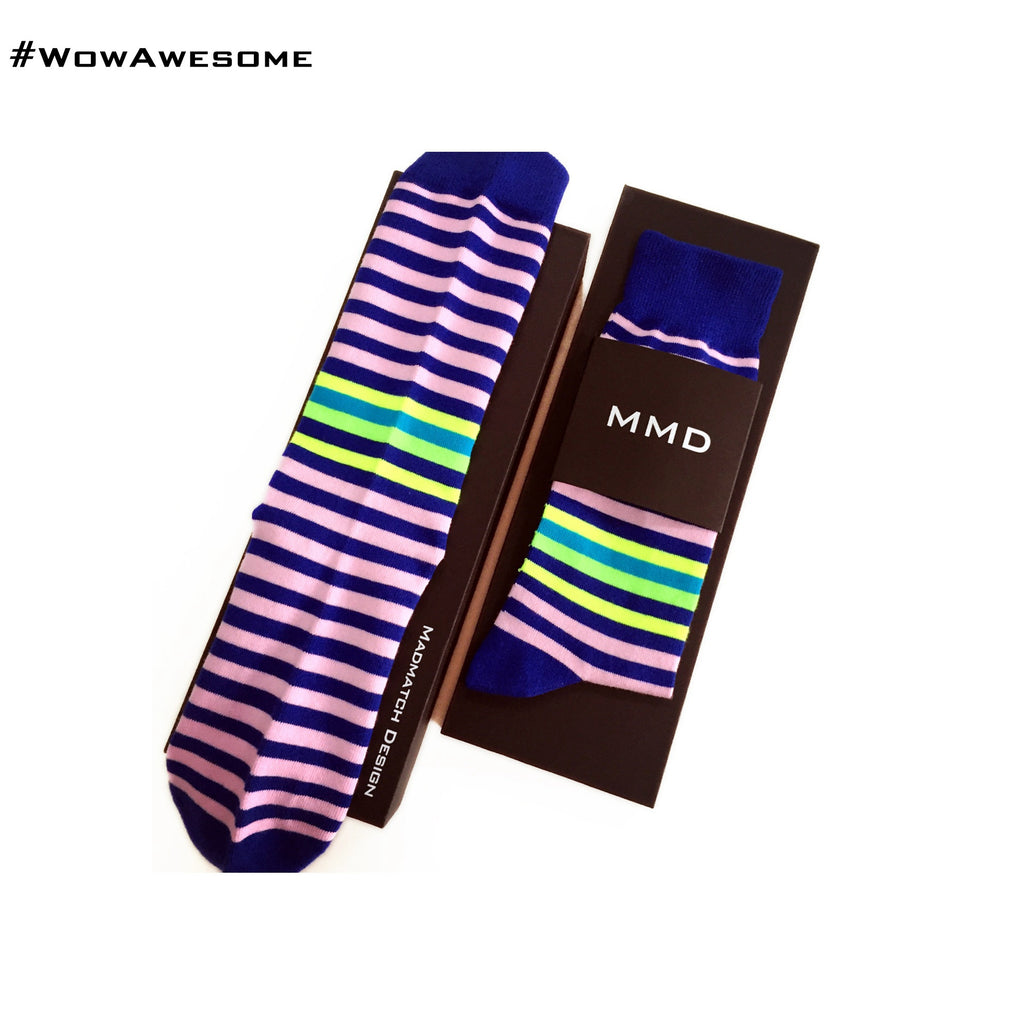 MadMatch Design MMD Black with Blue Yellow Pink Green Fluorescent Stripes Womens Mens Cotton Boot Casual Socks for Men Women