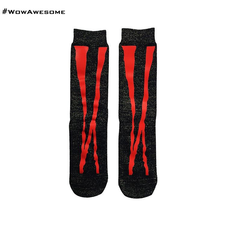 MMD Red Crossed Stripes on Black Womens Mens Boot Casual Cotton Socks for Men Women MMD16G-024