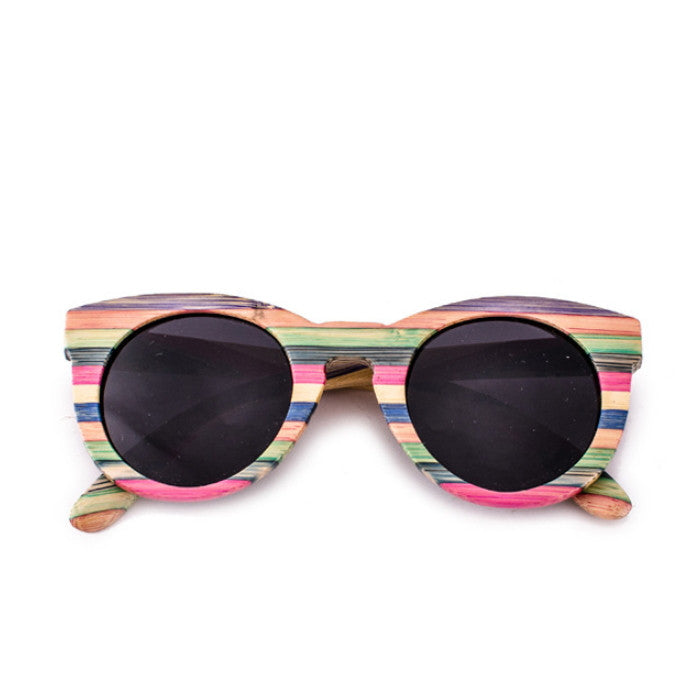 2016 Brand New Bamboo Women Cat Eyes Multi Color Strip Sunglasses Shades Sunnies Goggles - WowAwesomeStuff  - 1