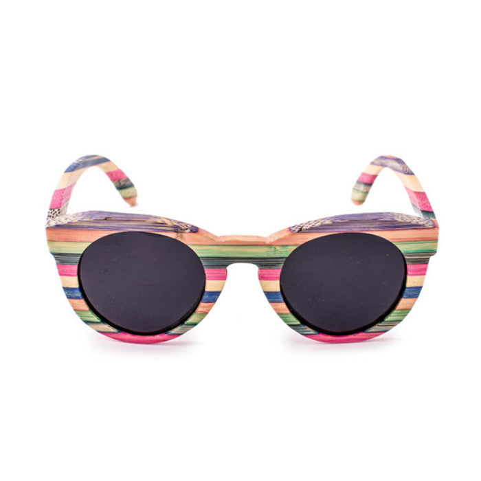 2016 Brand New Bamboo Women Cat Eyes Multi Color Strip Sunglasses Shades Sunnies Goggles - WowAwesomeStuff  - 2