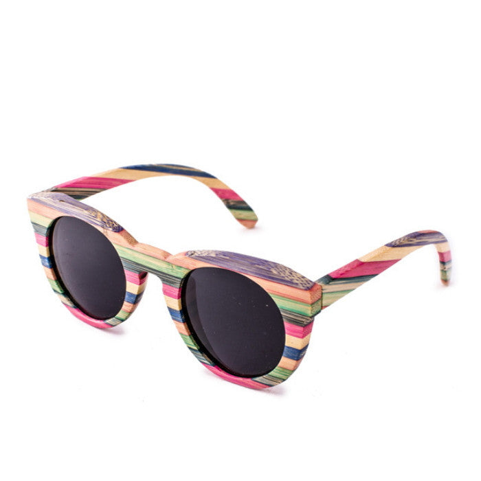2016 Brand New Bamboo Women Cat Eyes Multi Color Strip Sunglasses Shades Sunnies Goggles - WowAwesomeStuff  - 3