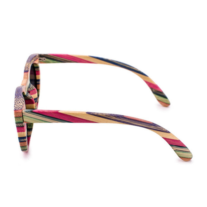 2016 Brand New Bamboo Women Cat Eyes Multi Color Strip Sunglasses Shades Sunnies Goggles - WowAwesomeStuff  - 4