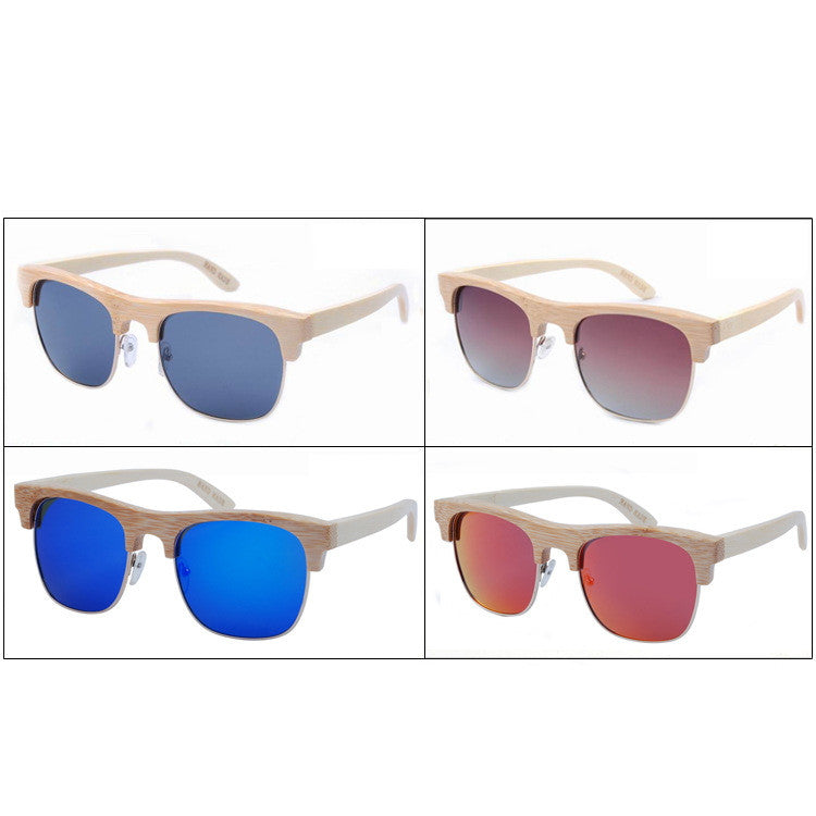 2016 Unique Retro Semi Rimless Women Wood Bamboo Sunglasses for Ladies Sun Glasses Shades Hot Sale - WowAwesomeStuff  - 6
