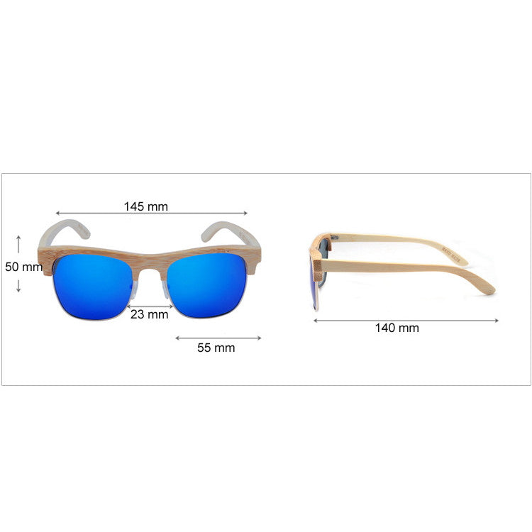 2016 Unique Retro Semi Rimless Women Wood Bamboo Sunglasses for Ladies Sun Glasses Shades Hot Sale - WowAwesomeStuff  - 5
